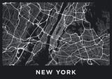 Dark New York City map. Road map of New York (United States). Black and white (dark) illustration of new york streets. Transport network of the Big Apple. Printable poster format (album). - 218339263