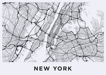 Light New York City Map. Road ...