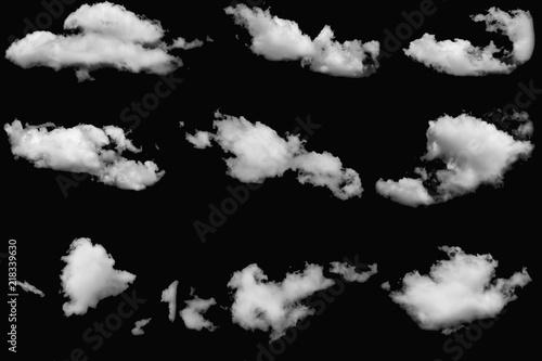 Aluminium Prints Heaven Set of cloud white fluffy on isolated elements black background.