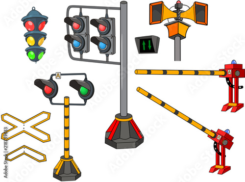Foto op Aluminium Babykamer Set of Cartoon Illustration. Railway Traffic Light. Semaphore. Cartoon