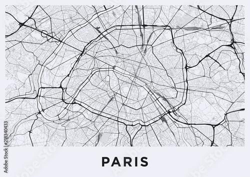 Light Paris city map. Road map of Paris (France). Black and ...