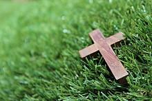 Blurred Image. Christian Cross...