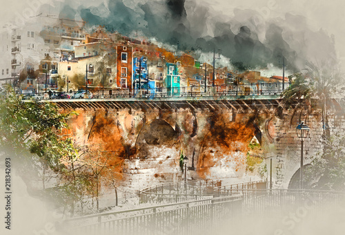 Digital watercolor painting of Villajoyosa town. Spain
