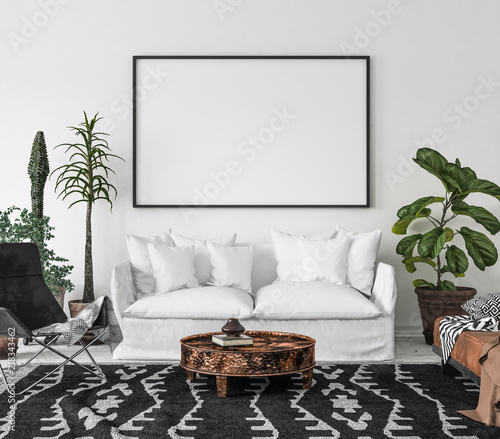 Photo  Bohemian interior with frame mock-up, 3d render