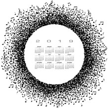A 2019 Music Calendar With A Circle Of Musical Notes And Space For Type For Print Or Web Use