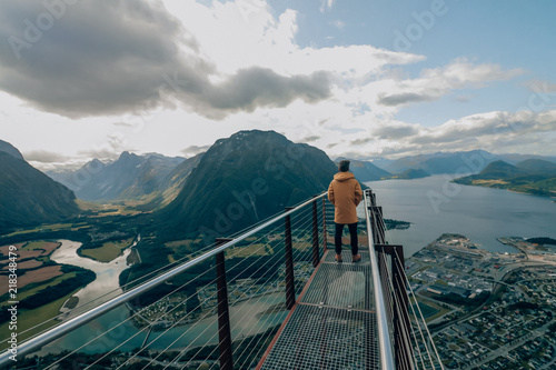 Spoed Foto op Canvas Scandinavië View over a fjord in norway