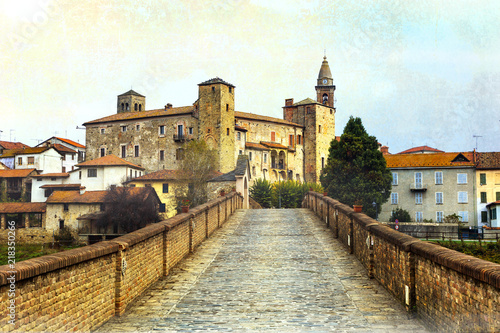 Bormida monastery and castle in regione Asti in Piemonte, north of Italy. Retro styled picture