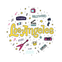 Los Angeles Colorful Vector Hand Drawn Doodle Illustration With Sign