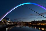 Gateshead Millennium Bridge and Tyne Bridge over the River Tyne