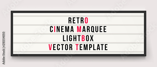 Fotomural  Retro cinema marquee lightbox vector template