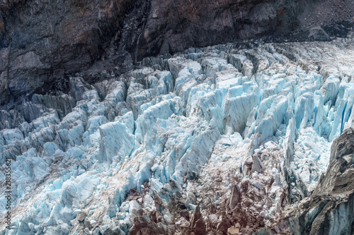 Melting glacier with deep crevices