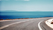 canvas print picture - Dreamy road, sea on the front