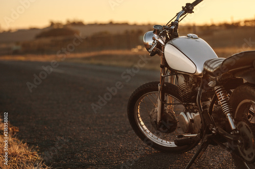 Vintage motorcycle on country road