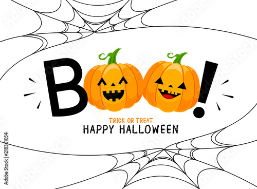 Fotografie, Obraz  Boo! lettering design with smiling pumpkin character
