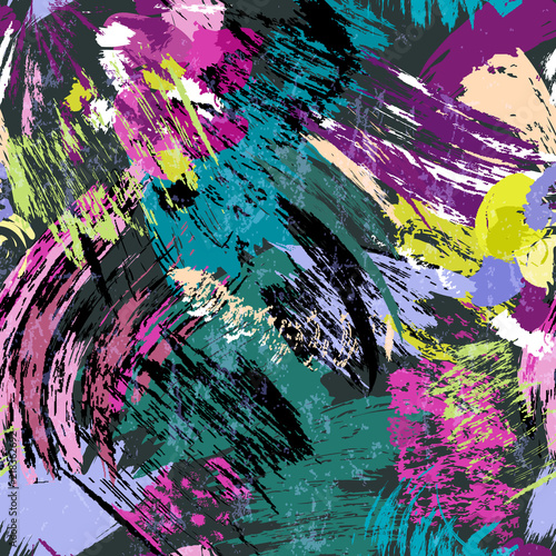 abstract background composition, with paint strokes and splashes, seamless pattern