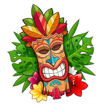 Tiki Tribal Wooden Mask. Hawaiian Traditional Character. Hawaii