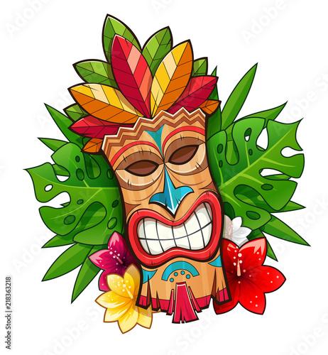 Tiki tribal wooden mask. Hawaiian traditional character. Hawaii