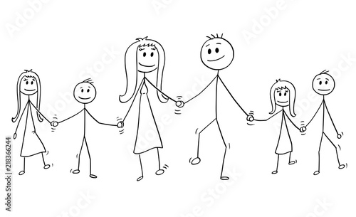 Cartoon Stick Drawing Conceptual Illustration Of Big Family Parents Man And Woman And Four Children Boy And Girl Are Walking While Holding Hands Buy This Stock Vector And Explore Similar Vectors