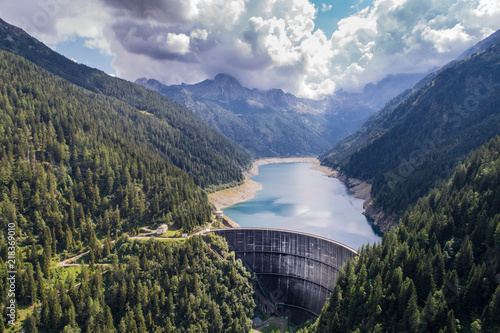 Photo Dam wall of Frera, Val Belviso in Valtellina. Aerial view