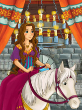 Cartoon Scene With Woman On Horse In Castle Chamber - Illustration For Children