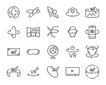 Vr Vector Line Icon Set, Such ...