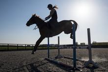 Silhouette Of Female Rider Jum...