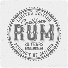 Label Of The Caribbean Rum. On Light Background
