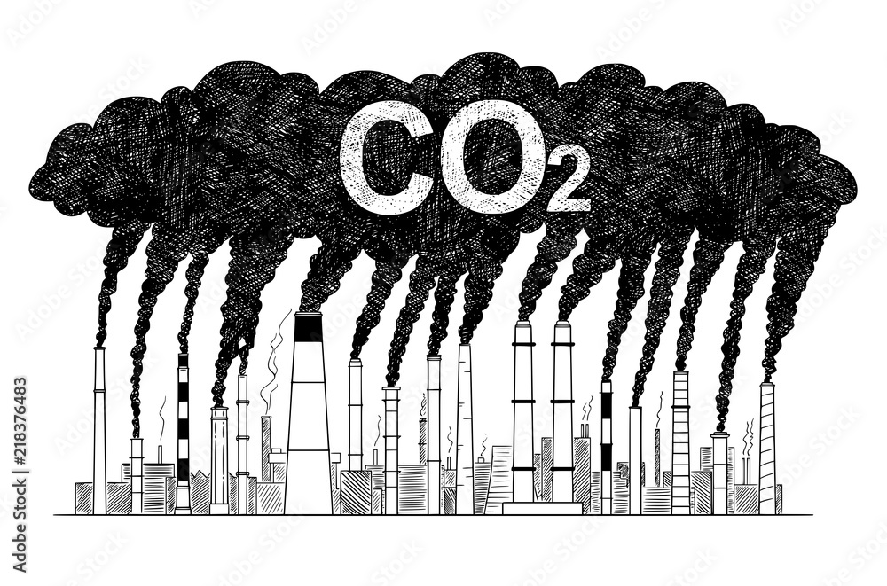 Fototapeta Vector artistic pen and ink drawing illustration of smoke coming from industry or factory smokestacks or chimneys into air. Environmental concept of carbon dioxide or CO2 air pollution.