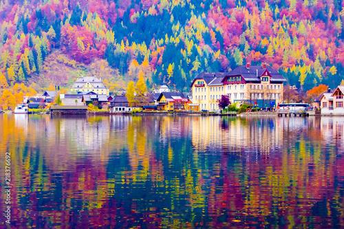 Fotografie, Obraz  Ebankment of Hallstatt lake reflections at autumn, Unesco, Hallstatt in Austria