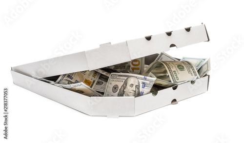 Slika na platnu Full pizza box of dollar bills isolated on white.
