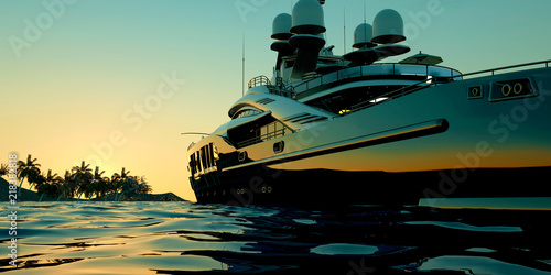 Pinturas sobre lienzo  Extremely detailed and realistic high resolution 3d illustration of a luxury Mega Yacht