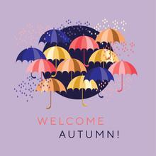 Flat Colorful Umbrellas And Drops Design Elements For Header, Card, Invitation, Poster, Cover. Decorative Autumn Motif