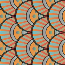 Vibrant Gradient Seamless Fairy Shells Vector Blue And Orange Pattern For Fabric, Textile, Wrapping, Craft, Wallpaper