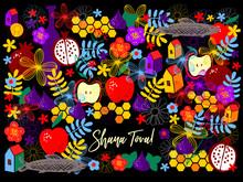 Greeting Card Wiyh Symbols Of Rosh Hashanah (pomegranate And Apple, Fish, Wine, Flower, Honey). Jewish New Year Celebration Design. Happy Shana Tova. Happy New Year In Israel