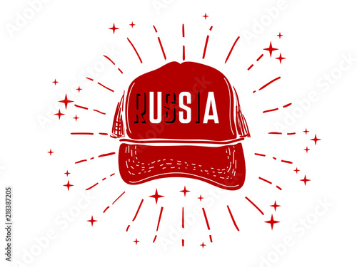 Fotografía Red baseball cap on white