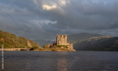 Fotobehang Kasteel Eilean Donan Castle with cloudy sunset sky Highlands Scotland Landscape