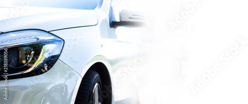 Obraz Modern white car front & headlights (copyspace) - fototapety do salonu