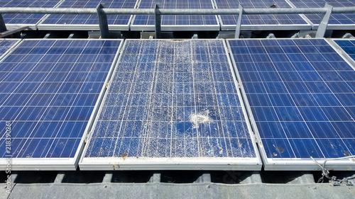 Fototapeta Cracked solar modules