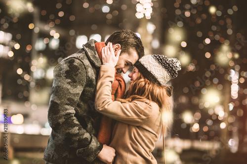 love winter couple Canvas Print