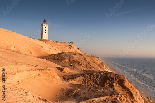Aerial view of the giant sand dunes with the famous lighthouse on the top of a hill Wallpaper Mural