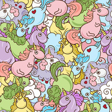 Magic Unicorn With Rainbow Horn And Flying Hearts With Wings Seamless Pink Pattern. Modern Fairytale Endless Textures, Magical Repeating Backgrounds. Cute Baby Backdrops.