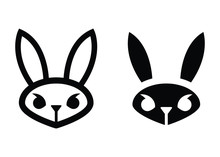 Grumpy Bunny Face Icons