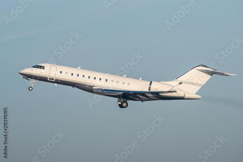 Fotografie, Tablou White modern private business jet taking off.