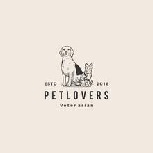 Dog Cat Pet Lover Logo Hipster Vintage Old Hand Drawing Vector Illustration