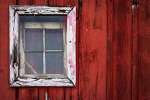 White-framed Window On An Old ...