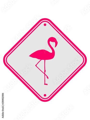 Warnung Hinweis Achtung Vorsicht Schild Danger Flamingo Clipart