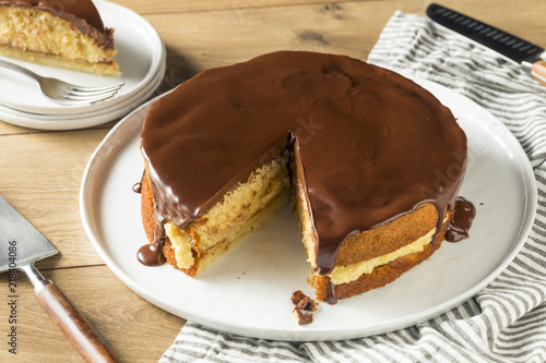 Homemade Chocolate Boston Cream Pie Canvas Print