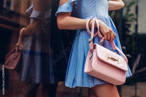 Photo Close-up of stylish female handbag