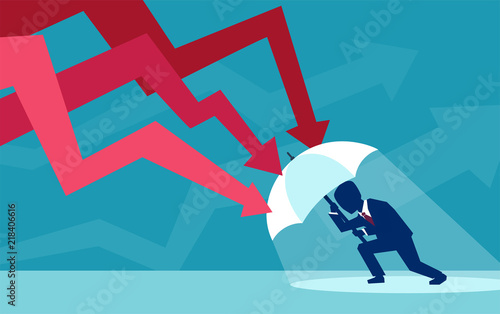Fotomural  Vector of a businessman with umbrella resisting falling red arrows
