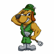 A Cartoon Soldier Puppy Lookin...